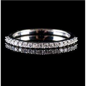14k White Gold Round Cut Diamond Wedding Anniversary Band / Ring .19ctw
