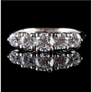 14k White Gold Round Cut Five-Stone Diamond Wedding / Anniversary Band 1.20ctw