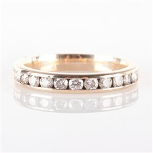 14k Yellow Gold  Round Cut Diamond Channel Set Wedding / Anniversary Band .36ctw