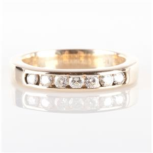 14k Yellow Gold Round Cut Channel Set Diamond Anniversary / Wedding Ring .21ctw