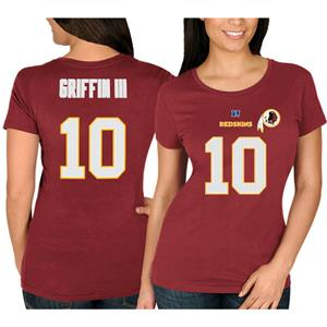 NFL Washington Redskins Robert Griffin III #10 Burgundy Womens T-Shirt