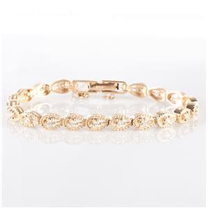 Stunning 14k Yellow Gold Round Cut Diamond Tennis Bracelet 1.90ctw