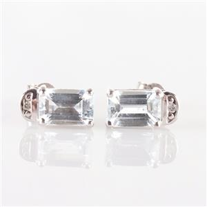 10k White Gold Emerald Cut Aquamarine & Round Cut Diamond Stud Earrings 1.015ctw