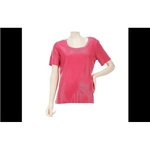 Susan Graver Plus Size Watermelon Textured Knit U-neck Top with Short Sleeves