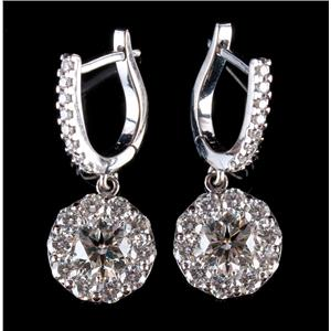 18k White Gold Round Cut Diamond Halo Dangle Earrings 2.56ctw