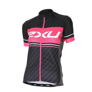 2XU Women's Perform Pro Cycling Jersey - Black / Pink - Women's Small