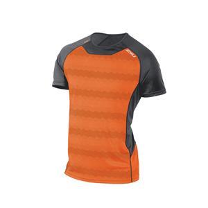 2XU Men's Ice X S/S Running top - Grey / Orange - Men's M