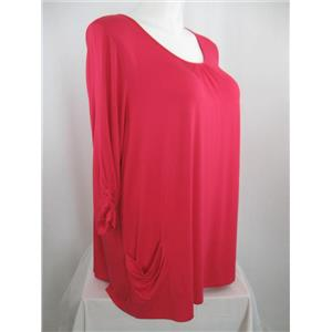 LOGO by Lori Goldstein Size 1X 3/4 Sleeve Knit Top w/Ruched Pockets in Raspberry