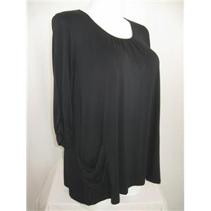 LOGO by Lori Goldstein Size 1X 3/4 Sleeve Knit Top w/Ruched Pockets in Black