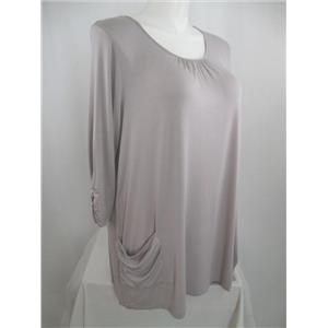 LOGO by Lori Goldstein Size 1X 3/4 Sleeve Knit Top w/Ruched Pockets - Pearl Gray