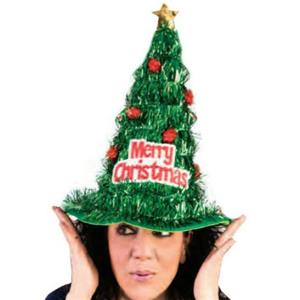 Merry Christmas Tree Green Tinsel Hat Fun Holiday Party Accessory