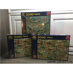 Jumbo Jan Van Haasteren 2000PC Deep Sea Fun Puzzle & 2 Farm Visit Puzzles -A