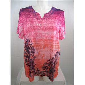 Catherines Size 0X Vibrant Pink Paisley Notched Neckline w/Lace Overlay Top
