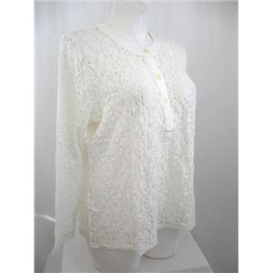 Susan Graver Size L Ivory Solid Cotton Nylon Stretch Lace Button Front Top