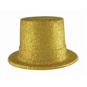 Beistle Plastic Gold Glitter Coated Top Hat