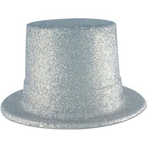 Beistle Plastic Silver Glitter Coated Top Hat