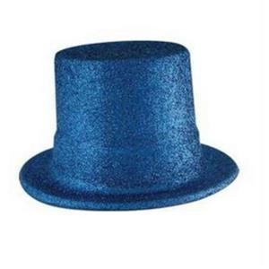 Beistle Plastic Blue Glitter Coated Top Hat