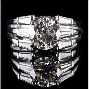 Stunning Platinum Round Cut Diamond Solitaire Engagement Ring W/ Accents 3.89ctw