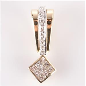 14k Yellow & White Gold Princess Cut Diamond Invisible Set Slide Pendant 1.09ctw