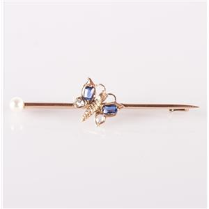 Vintage 1880's 14k Rose Gold Sapphire / Diamond / Pearl Butterfly Pin .32ctw