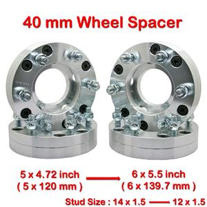 4 pcs 40mm 5 Studs 14 x 1.5 PCD 5 x 120 to 6 x 139.7 mm Wheel Spacer Spacers