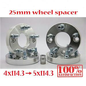 (4) 1 inch 25mm Wheel Spacer Spacers Adapter 12x1.25 4x114.3 Convert To 5x114.3