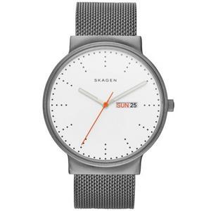 Skagen SKW6321 Titanium Watch w/ Day/Date. Gray Stainless Steel Mesh Bracelet