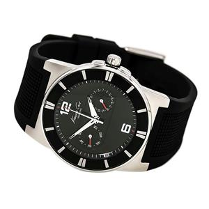 Kenneth Cole 10008220 KC1405. Men's Silver-Tone and Black Day/Date. Rubber Strap