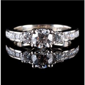 "14k White Gold Round Cut ""G"" Diamond Three-Stone Engagement Ring 1.13ctw"