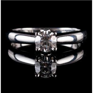 Stunning Platinum Round Cut Diamond Solitaire Engagement Ring W/ Accents .56ctw