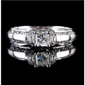 14k White Gold Princess Cut Diamond Solitaire Engagement Ring W/ Accents .68ctw