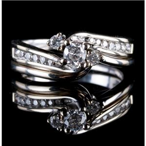 14k White Gold Round Cut Diamond Solitaire Engagement / Wedding Ring Set .44ctw