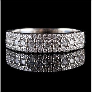 14k White Gold Round Cut Diamond Three-Row Anniversary Ring / Band .58ctw