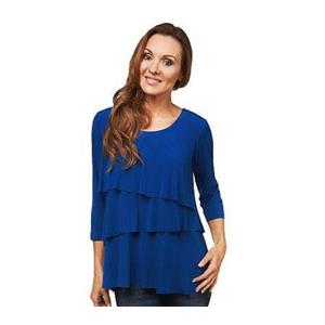 Susan Graver Size 1X Dusk Blue Liquid Knit Tiered 3/4 Sleeve Top