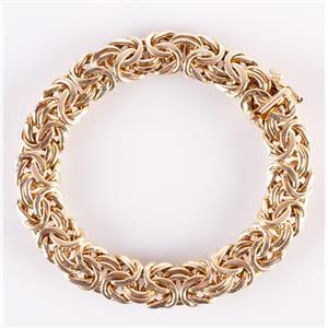 "14k Yellow Gold Italian Oval Style Byzantine Bracelet 7.5"" Length 26.8g"
