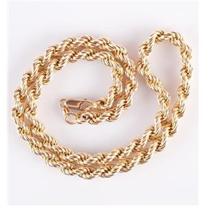 "14k Yellow Gold Thick Rope Style Chain Necklace 18"" Length 30.8g"