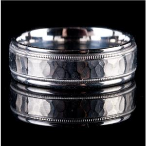 Men's 14k White Gold Hammer Finish Milgrain Band / Ring 7.0g