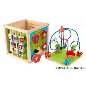 KidKraft Bead Maze Cube - Shape sorter - Rotating gears - Adorable farm theme