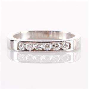 Square Shanked Platinum Round Cut Diamond Wedding / Anniversary Band .21ctw