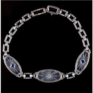 Vintage 1920's Platinum & 14k Gold Sapphire & Diamond Window Bracelet .30ctw