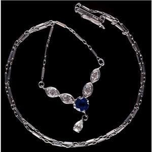 Vintage 1920's 14k White Gold Round Cut Sapphire & Diamond Necklace 1.50ctw