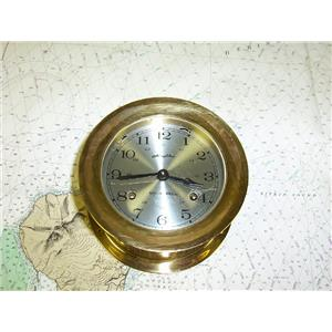 "Boaters' Resale Shop of TX 1611 1724.04 AIRGUIDE SHIPS BELL CLOCK WITH 4"" FACE"