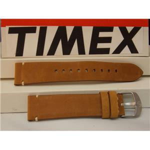 Timex Watch Band Rawhide Look Brown 20mm Genuine Leather Steel Buckle. Strap