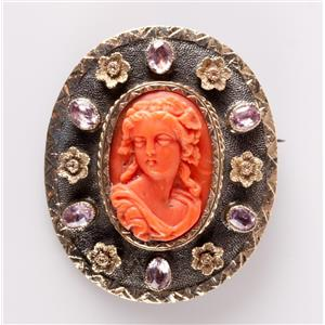 Vintage 1890's Sterling Silver Coral & Amethyst Cameo Pin / Brooch 1.8ctw