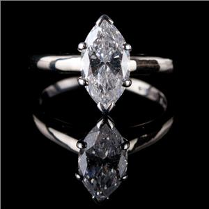 Stunning 14k White Gold Marquise Cut Diamond Solitaire Engagement Ring 1.80ct
