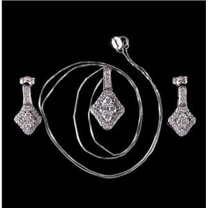 14k White Gold Round Cut Diamond Necklace & Dangle Set 1.43ctw