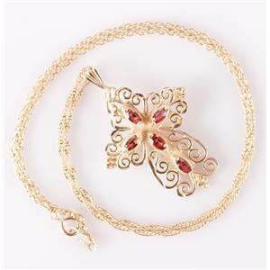 "14k Yellow Gold Marquise Cut Mozambique Garnet Cross Pendant W/ 16"" Chain .80ctw"