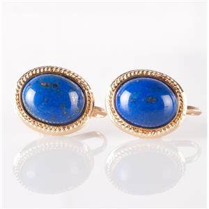 18k Yellow Gold Oval Cabochon Cut Lapis Lazuli French Screw Clip On Earrings
