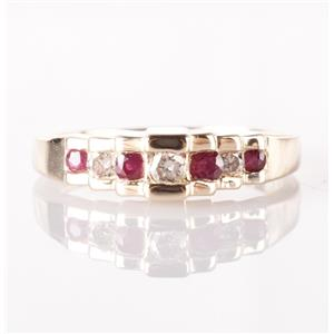 14k Yellow Gold Round Cut Diamond & Ruby Step Style Ring .23ctw