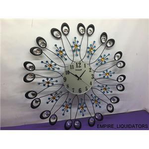 """26"""" x 26"""" Metal Decorative Black Clock with gems & jewels ITEM M1287"""
